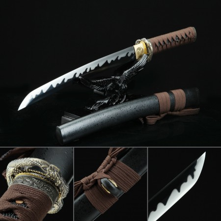 Handmade 1045 Carbon Steel Hand Sharpening Real Japanese Tanto Sword With Black Scabbard