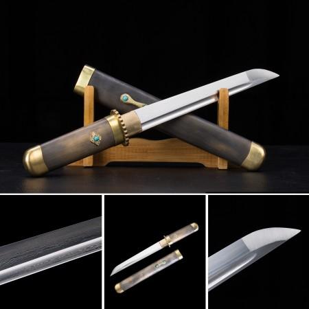 Handmade Pattern Steel Plum Blossom Theme Short Japanese Aikuchi Pocket Tanto Knife