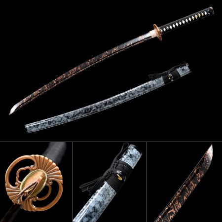Handmade Japanese Katana 1045 Carbon Steel With Black Blade And Blue Scabbard