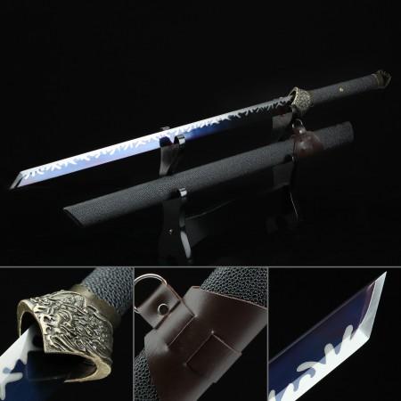 Handmade High Manganese Steel Blue Blade Real Japanese Ninjato Ninja Sword With Black Scabbard