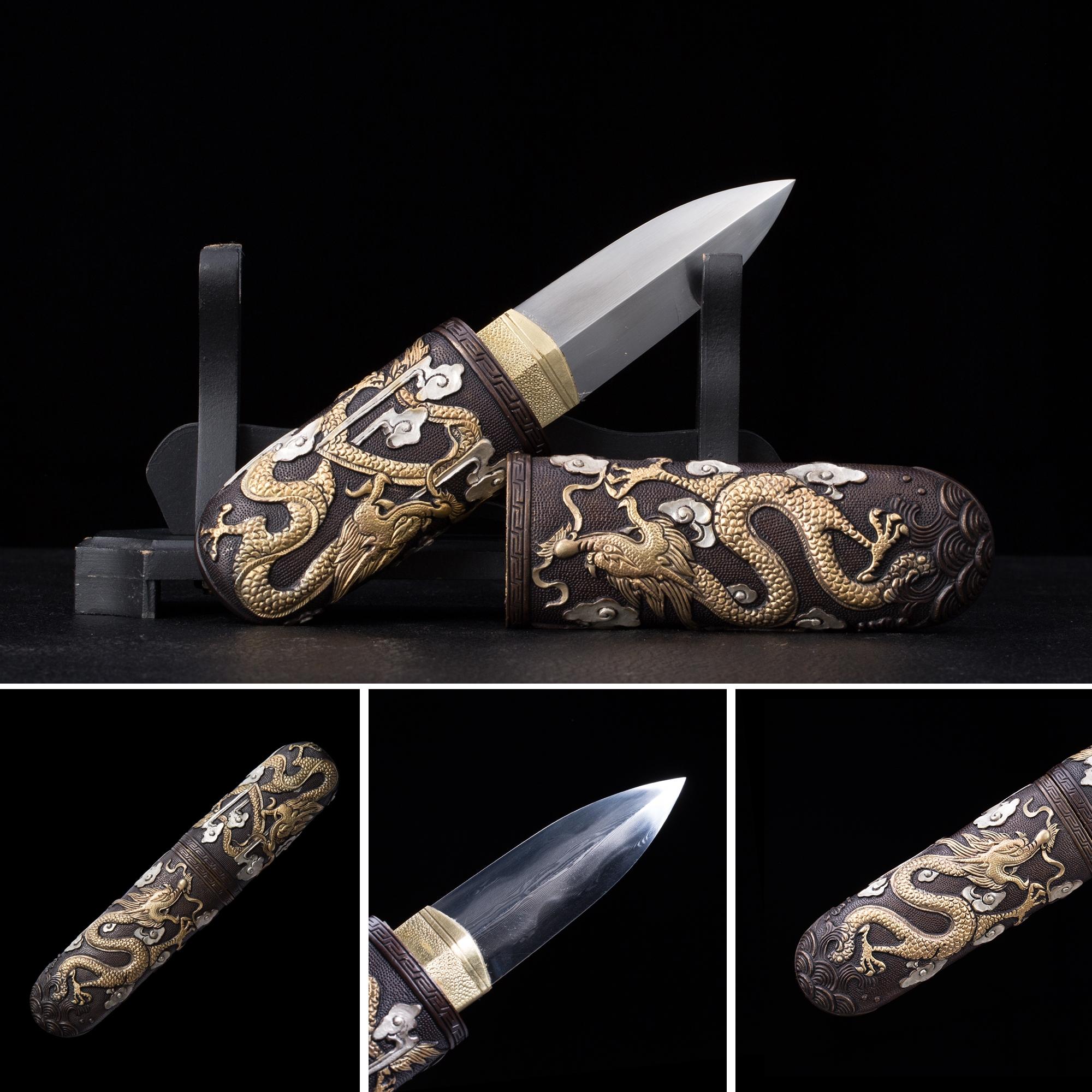 High-performance T10 Carbon Steel Double Edge Blade Short Katana Japanese Aikuchi Pocket Tanto Knife