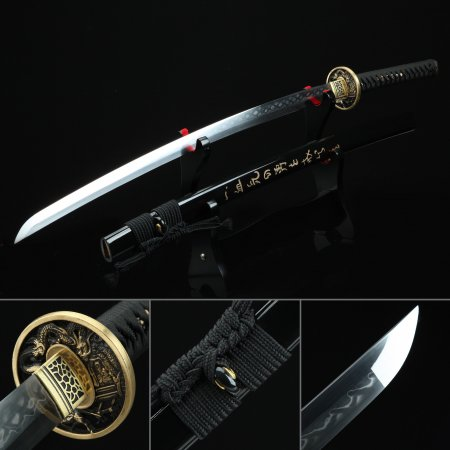 Handmade T10 Carbon Steel Authentic Hamon Japanese Katana Samurai Sword With Dragon Tsuba