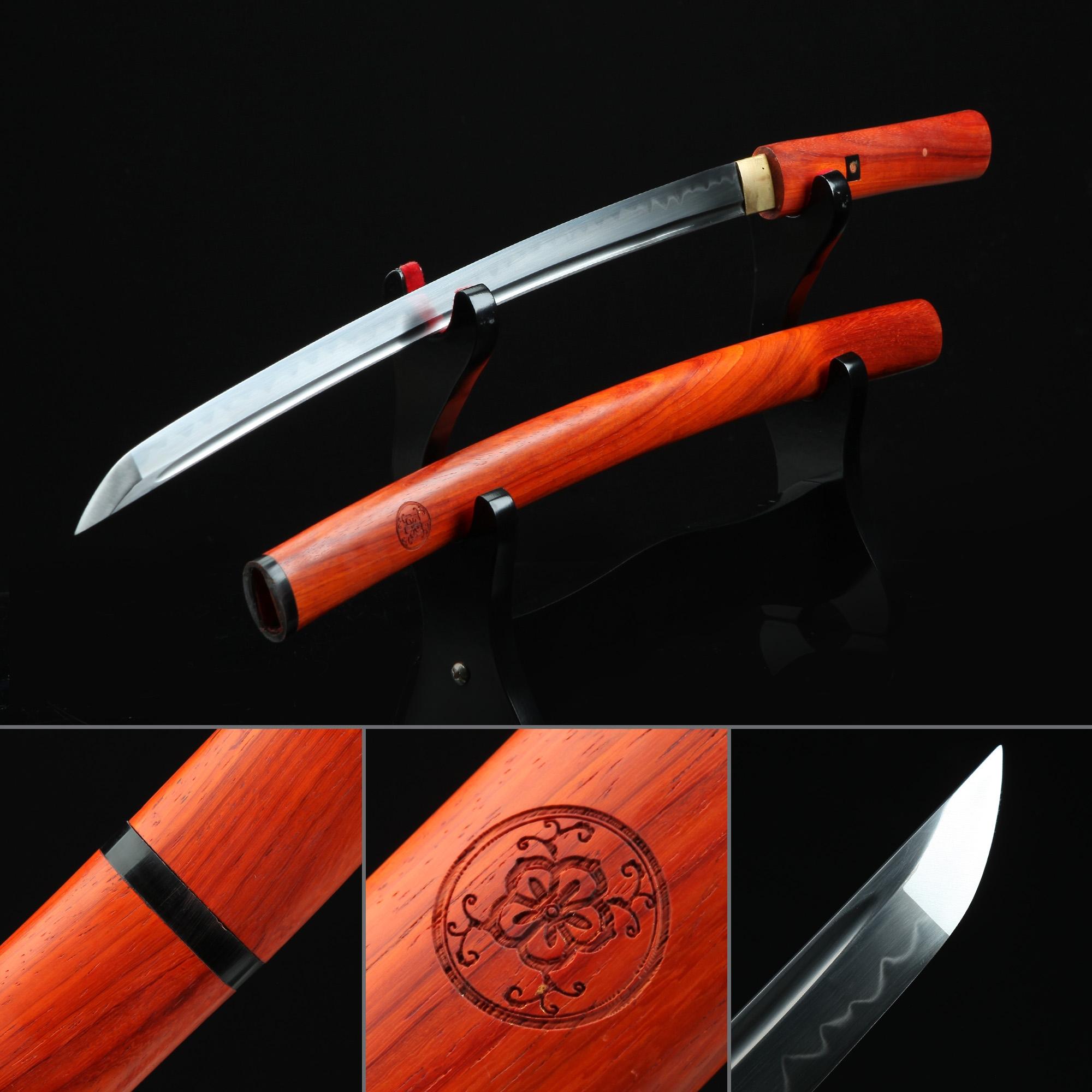 Handmade Shirasaya Wakizashi Swords Without Tsuba With Rosewood Scabbard