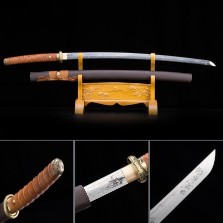 Handmade High Manganese Steel Brown Saya And Bamboo Theme Real Japanese Katana Samurai Swords