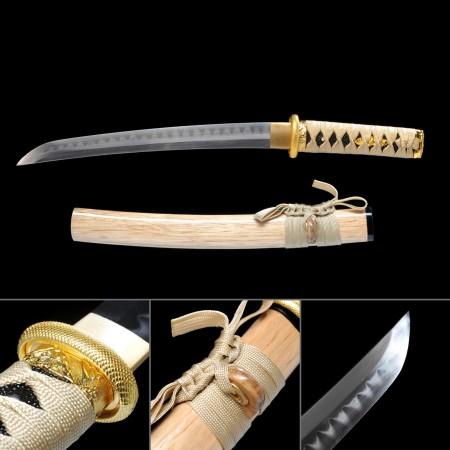 Natural Wood Theme Handmade Real Hamon Japanese Samurai Sword Tanto Swords