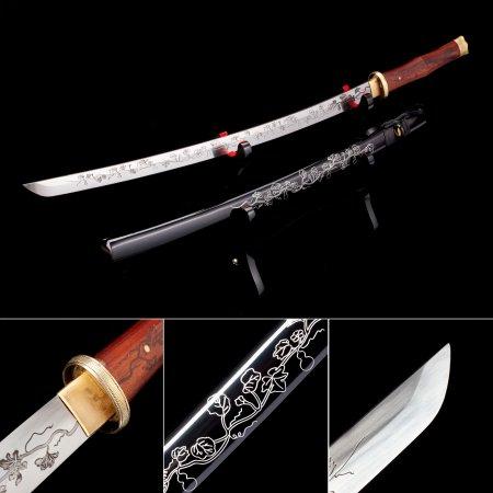 Handmade Pattern Steel Flower Theme Blade Japanese Katana Samurai Swords With Black Scabbard