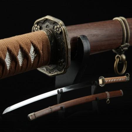 Handmade Japanese Samurai Sword High Manganese Steel With Brown Scabbard