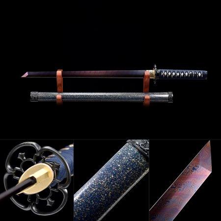 Handmade Pattern Steel Red Blade Real Japanese Ninjato Ninja Sword With Multi-colored Scabbard