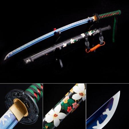 Handmade High Manganese Steel Blue Blade Japanese Katana Samurai Swords With Black Leather Scabbard