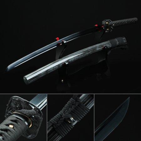 Black Blade Katana, Handmade Japanese Katana Sword High Manganese Steel With Black Scabbard