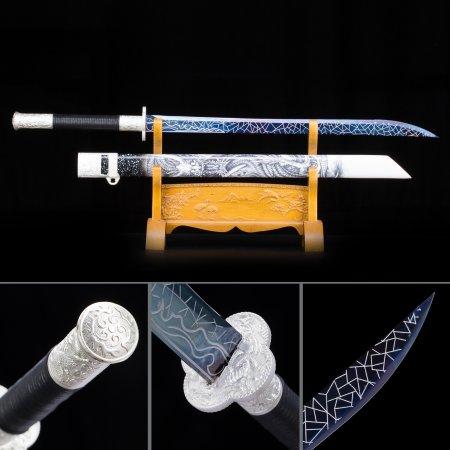 High Manganese Steel Blue Straight Blade Chokuto Japanese Ninjato Swords With White Scabbard