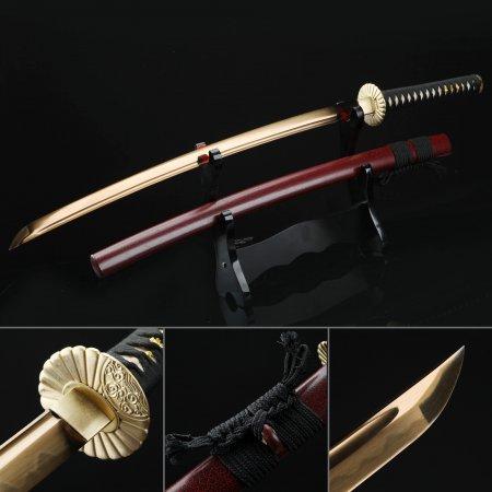 Japanese Katana, Real Hamon Katana Sword T10 Folded Clay Tempered Steel With Golden Blade
