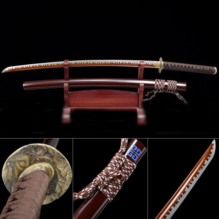 Handmade Japanese Samurai Sword High Manganese Steel With Red Blade And Dark Red Scabbard