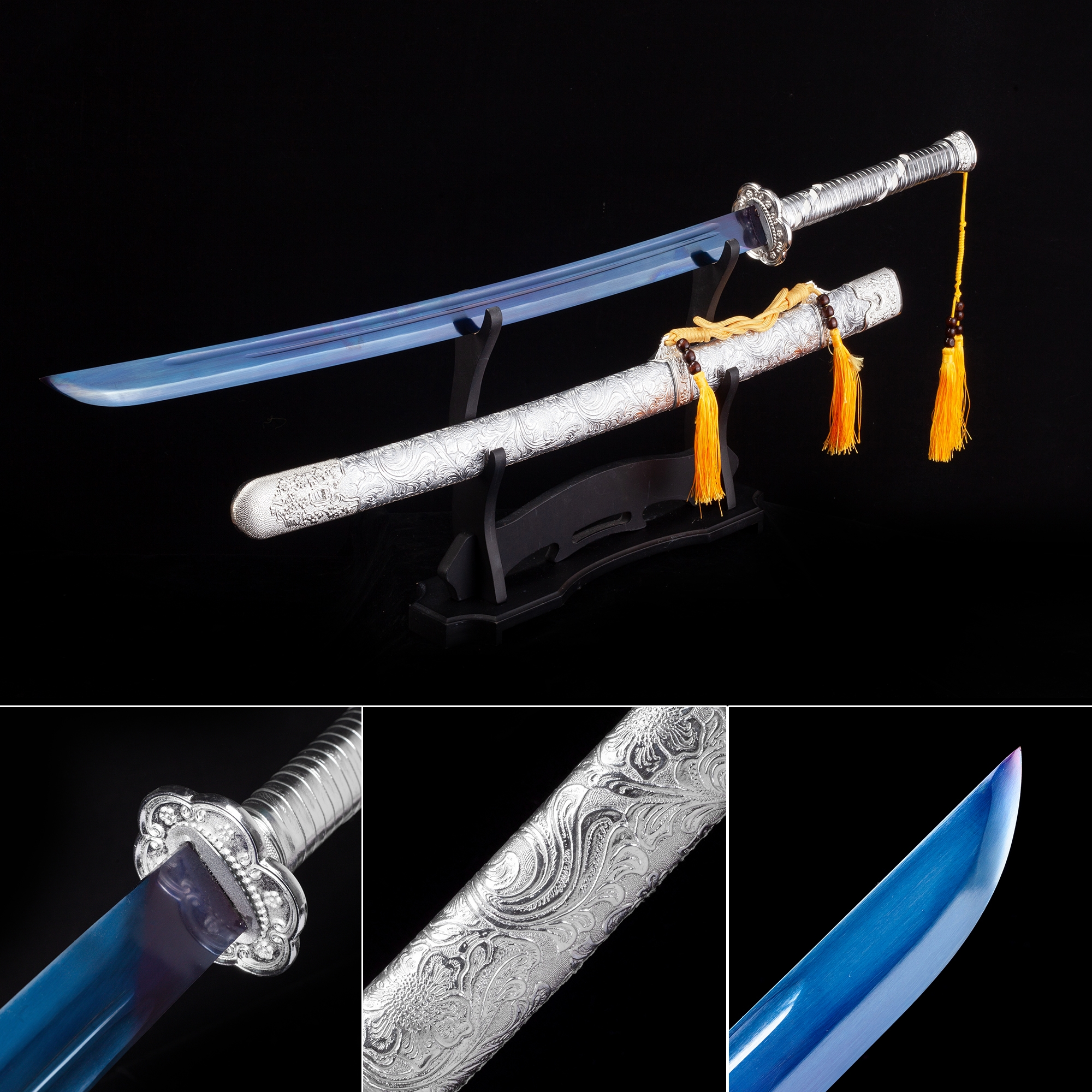 Handmade High Manganese Steel Blue Blade Japanese Katana Samurai Swords With Silver Scabbard