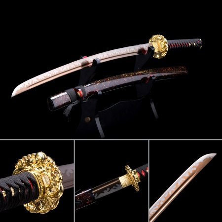 Handmade Japanese Samurai Sword T10 Folded Clay Tempered Steel With Rose Gold Blade
