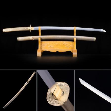 Handmade Japanese Samurai Sword High Manganese Steel With Bronze Copper Scabbard And Handle