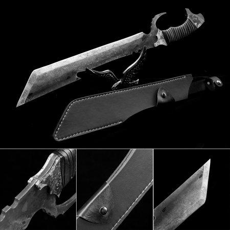 Handmade Pattern Steel Fixed Straight Blade Sharpened Zombie Killer Fantasy Sword Dagger