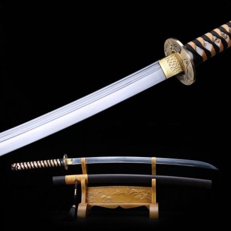 Handmade 1060 Carbon Steel Real Kataba Japanese Samurai Swords With Leather Saya