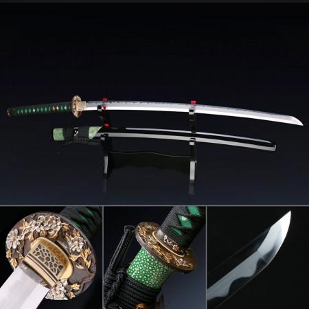 Handmade Flower Tsuba Real Japanese Katana Samurai Sword Made With T10 Carbon Steel