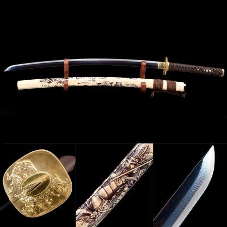 Full Tang Sword, Handmade Japanese Samurai Sword 1000 Layer Folded Steel With Blue Blade