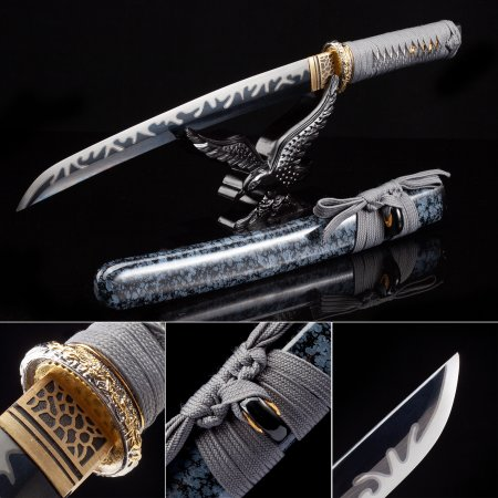 Handmade High Manganese Steel Black Blade Japanese Tanto Sword With Blue Scabbard