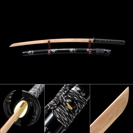 Handmade Natural Bamboo Wooden Blade Unsharpened Katana Sword With Black Scabbard And Tsuba