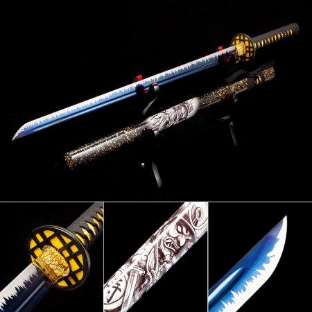 Handmade High Manganese Steel Blue Blade Japanese Ninjato Ninja Swords With Multi-colored Scabbard