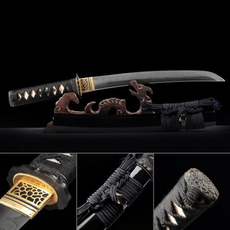 Handmade Carbon Steel Japanese Samurai Sword Real Hamon Tanto Swords