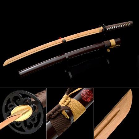 Handmade Natural Bamboo Wooden Blunt Unsharpened Blade Katana Sword With Dark Red Scabbard