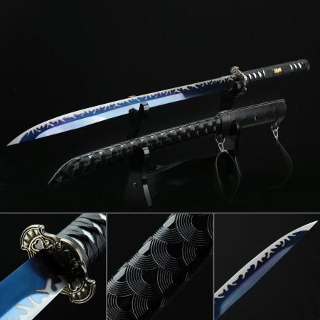 Modern Katana, Handmade Japanese Katana Sword High Manganese Steel With Blue Blade And Black Strap