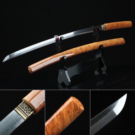 Handmade Modern Japanese Shirasaya Katana Sword Pattern Steel Without Tsuba