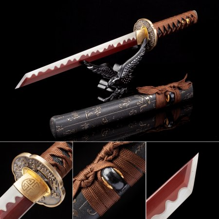 Handmade High Manganese Steel Red Blade Japanese Hamidashi Tanto Sword With Black Scabbard