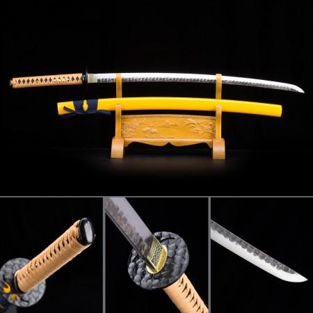 Handmade High Manganese Steel Yellow Saya Sharpened Real Japanese Katana Samurai Swords