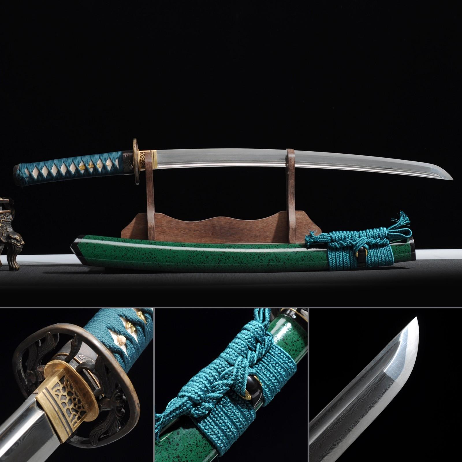 Short Katana, Handmade Wakizashi Sword Damascus Steel With Green Scabbard