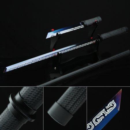 Handmade High Manganese Steel Blue Straight Blade Chokuto Japanese Ninjato Ninja Swords Set