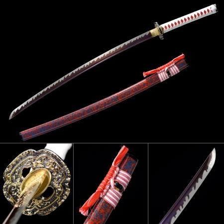 Handmade Japanese Katana Sword 1045 Carbon Steel With Purple Blade And Red Scabbard