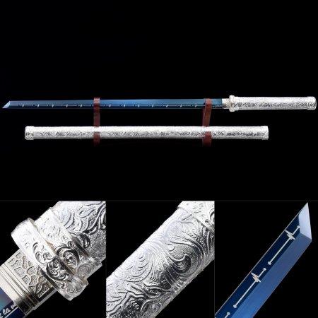 Handmade High Manganese Steel Blue Blade Real Japanese Ninjato Ninja Sword With Silver Scabbard