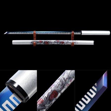 Handmade Real Japanese Ninjato Ninja Shikomizue Blind Fury Stick Swords Without Tsuba