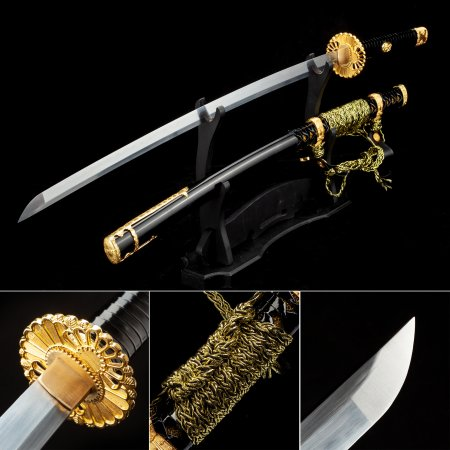 Handmade Japanese Katana Sword High Manganese Steel With Black Scabbard And Sunflower Tsuba