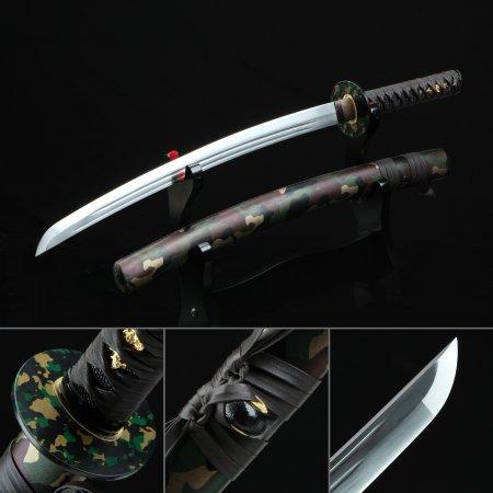Handmade Spring Steel Real Japanese Wakizashi Sword With Camouflage Scabbard And Iron Tsuba