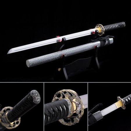 Handmade High Manganese Steel Straight Blade Chokuto Japanese Ninjato Swords With Gray Scabbard