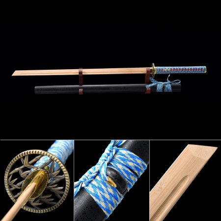 Handmade Natural Bamboo Wooden Straight Blade Unsharpened Ninjato Ninja Swords With Black Scabbard