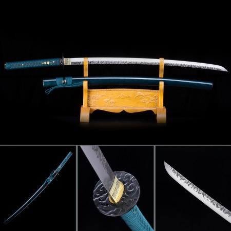 Handmade High Manganese Steel Blue Saya And Cloud Theme Real Japanese Katana Samurai Swords