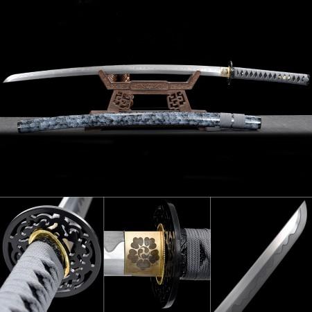Handmade Japanese Samurai Sword High Manganese Steel With Blue Scabbard