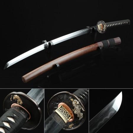 High-performance Pattern Steel Miracle Tsuba Real Hamon Japanese Katana Swords With Brown Scabbard