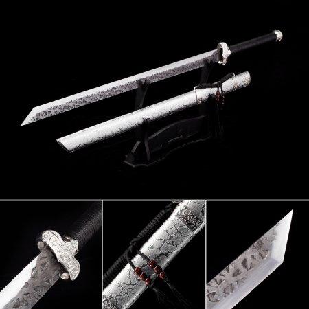 Straight Sword, Handmade Chokuto Ninjato Ninja Swords With Silver Scabbard