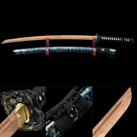 Handmade Wooden Blade Unsharpened Katana Sword With Multi-colored Scabbard And Dragon Tsuba