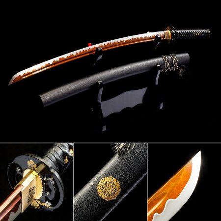 Handmade Japanese Sword High Manganese Steel With Red Blade And Black Leather Scabbard