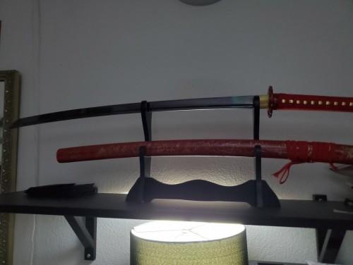 Red Katana Handmade Japanese Katana Sword Damascus Steel With Red Blade