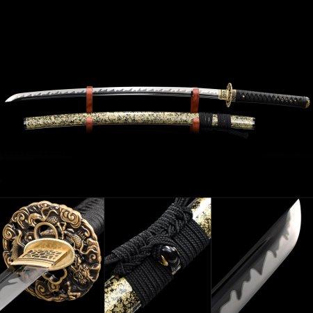 Handmade High Manganese Steel Black Blade Real Japanese Samurai Katana Sword With Brown Scabbard
